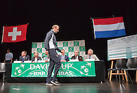 Switserland, Genève, September 17, 2015, Tennis,   Davis Cup, Switserland-Netherlands, Draw, Thiemo de Bakker<br /> Photo: Tennisimages/Henk Koster