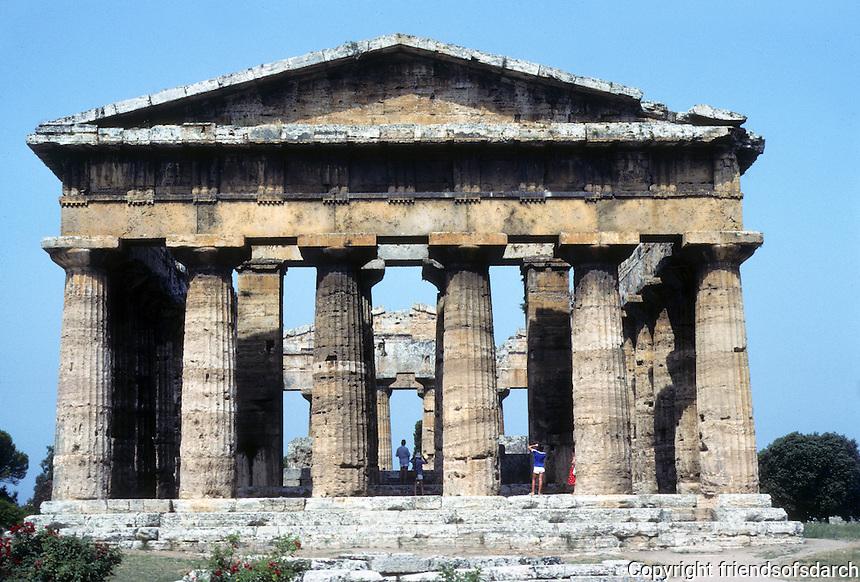 Italy: Paestum--Temple of Hera II, Elevation. Photo '83.