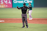 Umpire James Jean works a game between the Greensboro Grasshoppers and the Greenville Drive on Thursday, July 22, 2021, at Fluor Field at the West End in Greenville, South Carolina. (Tom Priddy/Four Seam Images)