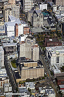aerial photograph of Grace Cathedral and Mark Hopkins Intercontinental hotel, Nob Hill, San Francisco, California