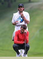 Michael Carrick (Manchester United Coach) and caddy during the BMW PGA PRO-AM GOLF at Wentworth Drive, Virginia Water, England on 23 May 2018. Photo by Andy Rowland.