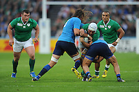 Rory Best of Ireland finds his way blocked by Josh Furno and Davide Giazzon of Italy during Match 28 of the Rugby World Cup 2015 between Ireland and Italy - 04/10/2015 - Queen Elizabeth Olympic Park, London<br /> Mandatory Credit: Rob Munro/Stewart Communications