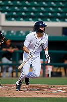 Detroit Tigers Parker Meadows (17) hits a single during a Florida Instructional League game against the Pittsburgh Pirates on October 6, 2018 at Joker Marchant Stadium in Lakeland, Florida.  (Mike Janes/Four Seam Images)