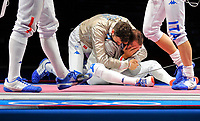 210728 -- CHIBA, July 28, 2021 -- Luca Curatoli R and Luigi Samele of Italy celebrate after the fencing men s sabre team semifinal between Hungary and Italy at the Tokyo 2020 Olympic Games, Olympische Spiele, Olympia, OS in Chiba, Japan, on July 28, 2021.  TOKYO2020JAPAN-CHIBA-OLYMPICS-FENCING-MEN S SABRE TEAM-SEMIFINAL LixMing PUBLICATIONxNOTxINxCHN <br /> Photo Imago  / Insidefoto ITALY ONLY