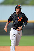 GCL Orioles second baseman Jonathan Schoop (46) runs the bases after hitting a home run during a game against the GCL Rays on July 20, 2013 at Charlotte Sports Complex in Port Charlotte, Florida.  GCL Orioles defeated the GCL Rays 4-1.  (Mike Janes/Four Seam Images)