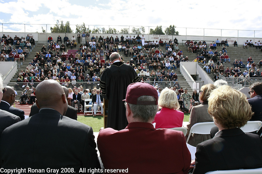 The Rev. Dr. John Powell leads a Memorial service held for Coach Bennie Eden at the Point Loma High School Football stadium that was recently renamed in his honor, Saturday February 23 2008.