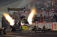 Aug. 31, 2012; Claremont, IN, USA: NHRA top fuel dragster driver Morgan Lucas during qualifying for the US Nationals at Lucas Oil Raceway. Mandatory Credit: Mark Rebilas-
