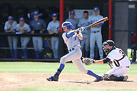 Clay Fisher (3) of the UC Santa Barbara Gouchos bats during a game against the Cal State Northridge Matadors at Matador Field on April 10, 2015 in Northridge, California. UC Santa Barbara defeated Cal State Northridge, 7-4. (Larry Goren/Four Seam Images)