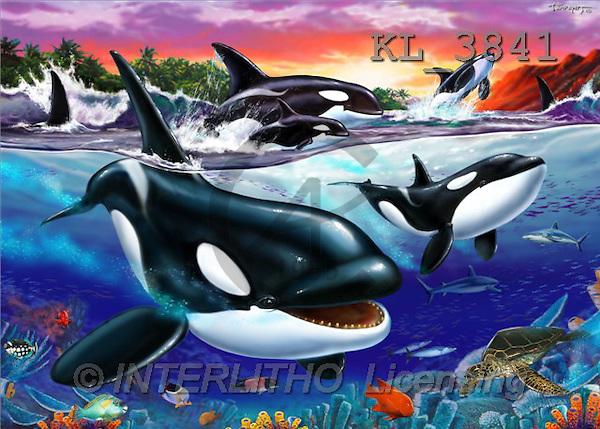 Interlitho, Lorenzo, FANTASY, paintings, orcas, KL, KL3841,#fantasy# illustrations, pinturas