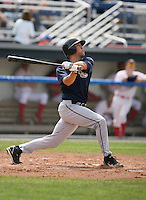 Matt Brown of the Mahoning Valley Scrappers, Class-A affiliate of the Cleveland Indians, during the New York-Penn League season.  Photo by:  Mike Janes/Four Seam Images