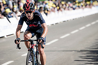 Richie Porte (AUS/Ineos Grenadiers) crossing the finish line<br /> <br /> Stage 2 from Perros-Guirec to Mûr-de-Bretagne, Guerlédan (184km)<br /> 108th Tour de France 2021 (2.UWT)<br /> <br /> ©kramon