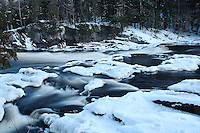 Snow and ice at Piers Gorge on the Menominee River. Norway, MI - Upper Peninsula