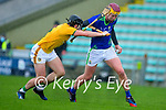 Jason Diggins, Kerry, in action against Padraic O'Hanrahan, Meath during the Round 1 meeting of Kerry and Meath in the Joe McDonagh Cup at Austin Stack Park in Tralee on Sunday.