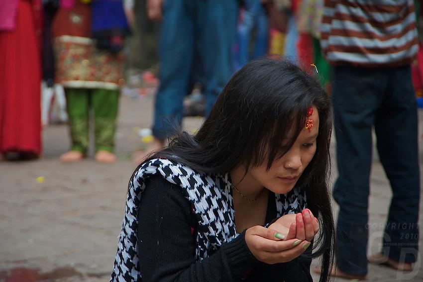 Young Girl at the Animal Sacrifice Temple at Dahsa Kali