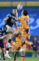 1st May 2021; Recreation Ground, Bath, Somerset, England; European Challenge Cup Rugby, Bath versus Montpellier; Anthony Watson of Bath competes in the air with Benoit Paillaugue of Montpellier