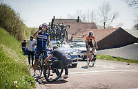 Philippe GILBERT (BEL/Deceuninck-Quick Step) staying calm during a mechanical<br /> <br /> 54th Amstel Gold Race 2019 (1.UWT)<br /> One day race from Maastricht to Berg en Terblijt (NED/266km)<br /> <br /> ©kramon