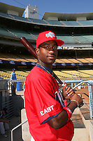 August 9 2008: Brian Goodwin participates in the Aflac All American baseball game for incoming high school seniors at Dodger Stadium in Los Angeles,CA.  Photo by Larry Goren/Four Seam Images