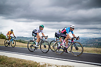 Michael Woods (CAN/EF), Maximilian Schachmann (DEU/Bora-Hansgrohe) & (a hidden) Michael Matthews (AUS/Sunweb)<br /> <br /> Men's Elite Road Race from Imola to Imola (258km)<br /> <br /> 87th UCI Road World Championships 2020 - ITT (WC)<br /> <br /> ©kramon