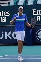 4th April 2021; Miami Gardens, Miami, Florida, USA;  Hubert Hurkacz (POL) wins the men's finals of the Miami Open on April 4, 2021, at Hard Rock Stadium in Miami Gardens, Florida