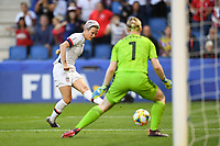LE HAVRE, FRANCE - JUNE 20: Megan Rapinoe #15, Hedvig Lindahl #1 during a 2019 FIFA Women's World Cup France group F match between the United States and Sweden at Stade Océane on June 20, 2019 in Le Havre, France.