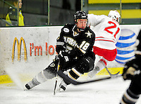 2 January 2011: Army Black Knight forward Joey Ammon, a Senior from Ashburn, VA, in action against the Ohio State University Buckeyes at Gutterson Fieldhouse in Burlington, Vermont. The Buckeyes defeated the Black Knights 5-3 to win the 2010-2011 Catamount Cup. Mandatory Credit: Ed Wolfstein Photo