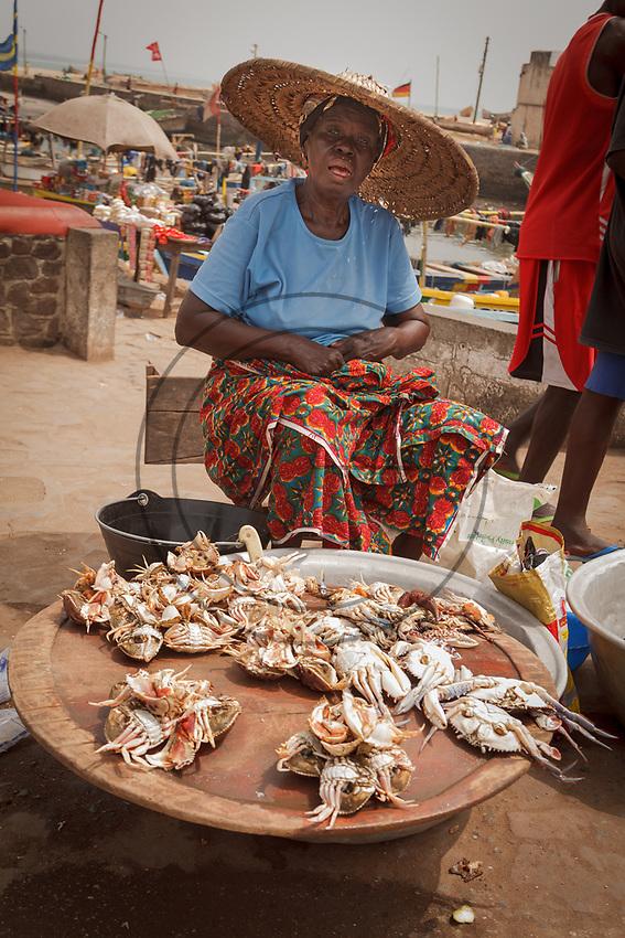 Africa,Ghana, Elmina crabs sold at the market