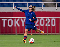 SAITAMA, JAPAN - JULY 24: Tobin Heath #7 of the USWNT warms up before a game between New Zealand and USWNT at Saitama Stadium on July 24, 2021 in Saitama, Japan.