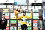 Race leader Maximilian Schachmann (GER) Bora-Hansgrohe retains the Yellow Jersey on the podium at the end of Stage 6 of the 78th edition of Paris-Nice 2020, running 161.5km from Sorgues to Apt, France. 13th March 2020.<br /> Picture: ASO/Fabien Boukla | Cyclefile<br /> All photos usage must carry mandatory copyright credit (© Cyclefile | ASO/Fabien Boukla)