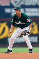Greenville second baseman Chih-Hsien Chang (39) on defense versus West Virginia at West End Field in Greenville, SC, Sunday, July 1, 2007.