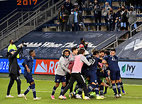 KANSAS CITY, KS - NOVEMBER 22: Sporting KC celebrate their team's qualification to the next round before a game between San Jose Earthquakes and Sporting Kansas City at Children's Mercy Park on November 22, 2020 in Kansas City, Kansas.