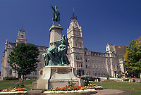 AJ2939, Quebec City, Quebec, Canada, Statue in front of the Parliament Buildings constructed in French Renaissance style in Quebec City in the Province of Quebec, Canada.