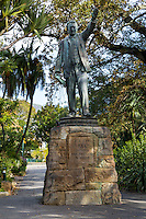 South Africa, Cape Town.  Statue to Cecil Rhodes, in The Company's Garden, established by the Dutch East India Company in 1652.