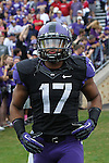 TCU Horned Frogs safety Sam Carter (17) in action during the game between the Oklahoma Sooners and the TCU Horned Frogs  at the Amon G. Carter Stadium in Fort Worth, Texas. OU defeats TCU 24 to 17.