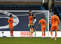 21st November 2020; The Den, Bermondsey, London, England; English Championship Football, Millwall Football Club versus Cardiff City; Matt Smith of Millwall heads the ball past Curtis Nelson of Cardiff City to score his sides 1st goal in the 35th minute to make it 1-0