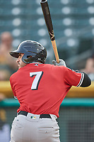 Ramon Laureano (7) of the Nashville Sounds bats against the Salt Lake Bees at Smith's Ballpark on July 27, 2018 in Salt Lake City, Utah. The Bees defeated the Sounds 8-6. (Stephen Smith/Four Seam Images)