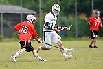 GER - Hannover, Germany, May 31: During the Men Lacrosse Playoffs 2015 match between SCC Blax (red) and ABV Stuttgart 1863 (white) on May 31, 2015 at Deutscher Hockey-Club Hannover e.V. in Hannover, Germany. (Photo by Dirk Markgraf / www.265-images.com) *** Local caption *** Max Noesser #18 of SCC BLAX, Dennis Kowa #11 of ABV Stuttgart