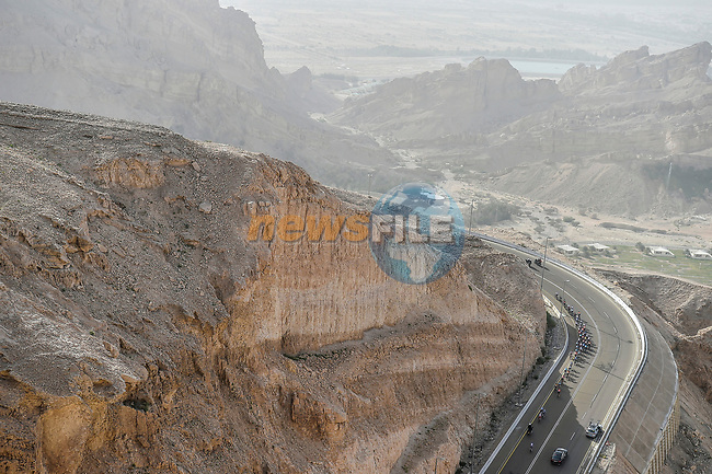 The lead group climb Jebel Hafeet during Stage 5 the Al Ain Water Stage of the UAE Tour 2020 running 162km from Al Ain to Jebel Hafeet, Dubai. 27th February 2020.<br /> Picture: LaPresse/Fabio Ferrari | Cyclefile<br /> <br /> All photos usage must carry mandatory copyright credit (© Cyclefile | LaPresse/Fabio Ferrari)