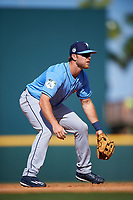Tampa Bay Rays third baseman Grant Kay (77) during a Spring Training game against the Pittsburgh Pirates on March 10, 2017 at LECOM Park in Bradenton, Florida.  Pittsburgh defeated New York 4-1.  (Mike Janes/Four Seam Images)