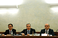 President of the Senate panel Maurizio Gasparri (center)<br /> Rome February 19th 2019. Senate immunity commission at Sant'Ivo alla Sapienza palace.  The commission voted to retain immunity from prosecution for the Minister of Internal Affairs Matteo Salvini. Last August 20th a ship, carrying 177 migrants (among them many minors) docked in the harbour of Catania but Minister Salvini took the decision to block migrants of Diciotti ship at sea. For that reason the magistracy accused the minister of kidnapping.<br /> Foto Samantha Zucchi Insidefoto