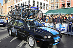Sky Procycling team Jaguar car before the start of the 96th edition of The Tour of Flanders 2012 in Bruges Market Square, running 256.9km from Bruges to Oudenaarde, Belgium. 1st April 2012. <br /> (Photo by Steven Franzoni/NEWSFILE).