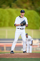 Connecticut Tigers starting pitcher Adam Wolf (43) gets ready to deliver a pitch during a game against the Hudson Valley Renegades on August 20, 2018 at Dodd Stadium in Norwich, Connecticut.  Hudson Valley defeated Connecticut 3-1.  (Mike Janes/Four Seam Images)