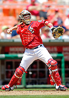 15 June 2006: Brian Schneider, catcher for the Washington Nationals, in action against the Colorado Rockies at RFK Stadium, in Washington, DC. The Rockies defeated the Nationals, 8-1 to sweep the four-game series...Mandatory Photo Credit: Ed Wolfstein Photo...