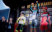 Flanders-winner for the 3rd time: Tom Boonen..2nd: Filippo  Pozzato.3rd: Allesandro Ballan..De Ronde van Vlaanderen 2012