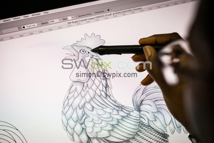 SWPix - RLWC2021 have commissioned for a Cockerel to be manufactured by famous Trophy makers Fattorini's, which will be placed back on the tournament Trophy... Pictures taken on 25th September 2018, at Thomas Fattorini Ltd, Regent St, Birmingham - Design Manager Dawn Forbes COPYRIGHT PICTURE SWpix.com Picture by Will Johnston/SWpix.com - Project Cockerel Rugby League World Cup Trophy Fattorini, Birmingham