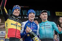 finish podium:<br /> 1/ Yves Lampaert (BEL/QuickStep Floors)<br /> 2/ Philippe Gilbert (BEL/Quick Step floors) 3/ Alexey Lutsenko (KAZ/Astana)<br /> <br /> 72nd Dwars Door Vlaanderen (1.UWT)<br /> 1day race: Roeselare › Waregem BEL (203.4km)