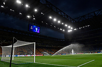 A general view of the stadium with the Champions league trophy pictured on the screen and sprinklers in action during the Uefa Champions League group D football match between FC Internazionale and Real Madrid at San Siro stadium in Milano (Italy), September 15th, 2021. Photo Andrea Staccioli / Insidefoto