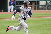 Colorado Springs Sky Sox infielder Luis Sardinas (2) runs to first during a Pacific Coast League game against the Iowa Cubs on May 10th, 2015 at Principal Park in Des Moines, Iowa.  Iowa defeated Colorado Springs 14-2.  (Brad Krause/Four Seam Images)