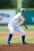 Burlington Royals relief pitcher Enmanuel Camacho (9) in action against the Greeneville Astros at Burlington Athletic Park on June 29, 2014 in Burlington, North Carolina.  The Royals defeated the Astros 11-0. (Brian Westerholt/Four Seam Images)
