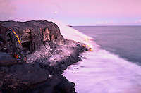 Moonrise with Lava flowing to the sea from Kilauea volcano, Big Island of Hawaii