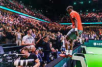 Rotterdam, The Netherlands, 17 Februari 2019, ABNAMRO World Tennis Tournament, Ahoy, Final, Gael Monfils (FRA) jumps in the coaches box after his win.<br /> Photo: www.tennisimages.com/Henk Koster